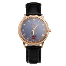Omega De Ville Automatic Rose Gold Case with Blue Dial-Leather Strap