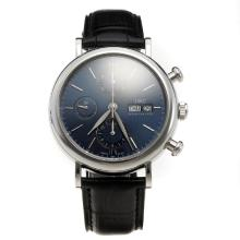 IWC Portofino Chronograph Swiss Valjoux 7750 Movement with Blue Dial-Leather Strap