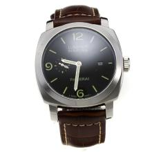 Panerai Luminor Marina Swiss Valjoux 7750 Movement Green Stick Markers with Black Dial-Leather Strap-2