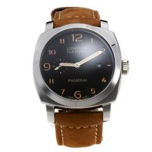 Panerai Luminor Marina Swiss Valjoux 7750 Movement Orange Number Markers with Black Dial-Leather Strap