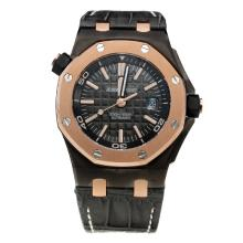 Audemars Piguet Royal Oak 2014 Limited Edition Swiss ETA 2836 Movement PVD Case with Black Dial-Leather Strap