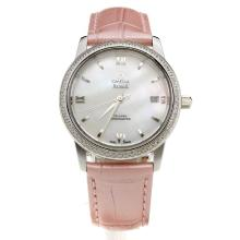 Omega De Ville Diamond Bezel with MOP Dial-Pink Leather Strap-2