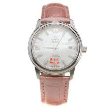Omega De Ville with MOP Dial-Pink Leather Strap-2