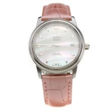 Omega De Ville with MOP Dial-Pink Leather Strap-1