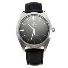 Omega Master Co-Axial Swiss ETA 2836 Movement with Black Dial-Leather Strap-1