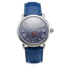 Cartier Rotonde De Cartier Watch With Blue Dial And Leather Strap