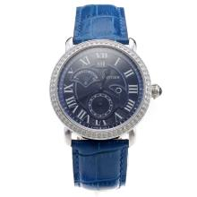 Cartier Rotonde De Cartier Watch Diamond Bezel With Blue Dial And Leather Strap