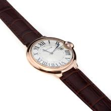 Cartier Ballon Bleu de Cartier Swiss ETA Movement Rose Gold Case with White Dial-Brown Strap