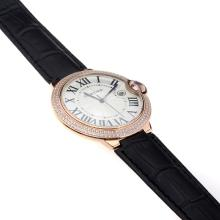 Cartier Ballon Bleu de Cartier Swiss ETA Movement Rose Gold Case Diamond Bezel with White Dial