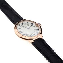 Cartier Ballon Bleu de Cartier Swiss ETA Movement Rose Gold Case with White Dial-Black Strap