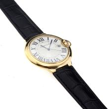 Cartier Ballon Bleu de Cartier Swiss ETA Movement Gold Case with White Dial-Black Strap