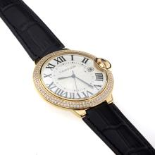 Cartier Ballon bleu de Cartier Swiss ETA Movement Gold Case Diamond Bezel with White Dial-Black Strap