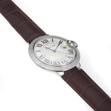 Cartier Ballon Bleu de Cartier Swiss ETA Movement Diamond Bezel With White Dial-Brown Leather Strap