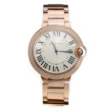 Cartier Ballon Bleu de Cartier Swiss ETA Movement Full Rose Gold Diamond Bezel With White Dial