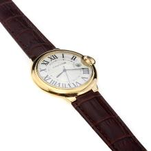 Cartier Ballon bleu de Cartier Swiss ETA Movement Gold Case Roman Markers With White Dial-Brown Leather Strap