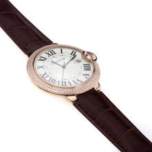 Cartier Ballon bleu de Cartier Swiss ETA Movement Rose Gold Case Diamond Bezel and White Dial-Brown Strap