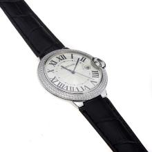 Cartier Ballon Bleu de Cartier Swiss ETA Movement Diamond Bezel With White Dial-Black Strap