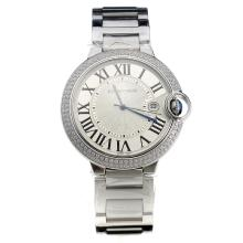Cartier Ballon Bleu de Cartier Swiss ETA Quartz Movement Diamond Bezel With White Dial S/S