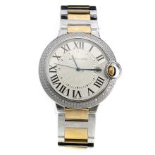 Cartier Ballon Bleu de Cartier Swiss ETA Movement Diamond Bezel With White Dial--Two-Tone Strap