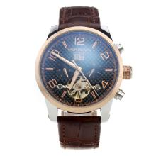 Montblanc Time Walker Automatic Two Tone Case With Black Checkered Dial--Rose Gold Markings