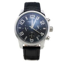 Montblanc Time Walker Automatic With Black Dial-Black Leather Strap