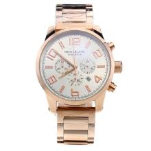 Montblanc Time Walker Working Chronograph Full Rose Gold With White Dial