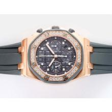 Audemars Piguet Royal Oak Limited Edition Swiss Valjoux 7750 Movement Rose Gold Case with Gray Checkered Dial