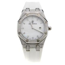 Audemars Piguet Royal Oak Swiss ETA Movement Diamond Bezel and Markings with White MOP Dial-White Rubber Strap