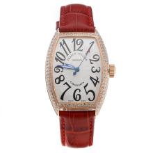 Franck Muller Casablanca Automatic Rose Gold Case Diamond Bezel with White Dial-Red Leather Strap