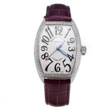 Franck Muller Casablanca Automatic Diamond Bezel with White Dial-Purple Leather Strap