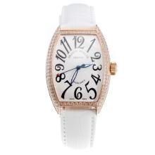Franck Muller Casablanca Automatic Rose Gold Case Diamond Bezel with White Dial-White Leather Strap-1