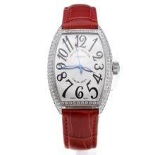 Franck Muller Casablanca Automatic Diamond Bezel with White Dial-Red Leather Strap
