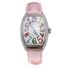 Franck Muller Casablanca Automatic Diamond Bezel Colourful Number Markings-Pink Leather Strap