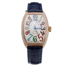 Franck Muller Casablanca Automatic Rose Gold Case Diamond Bezel with White Dial-Blue Leather Strap-1