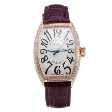 Franck Muller Casablanca Automatic Rose Gold Case Diamond Bezel with White Dial-Purple Leather Strap