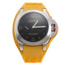Panerai Luminor Marina Swiss Valjoux 7750 Movement Black Dial with Orange Rubber Strap-Extra Brown Leather Strap