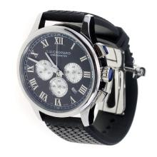 Chopard LUC Working Chronograph Roman Markings with Black Dial-Black Rubber Strap