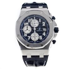 Audemars Piguet Royal Oak Offshore Swiss Valjoux 7750 Movement Blue Dial with Blue Leather Strap-Number Markings