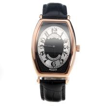 Patek Philippe Gondolo Rose Gold Case Black Dial with Leather Strap-Lady Size