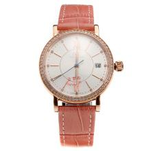 IWC Portofino Rose Gold Case Diamond Bezel White Dial with Pink Leather Strap-Lady Size