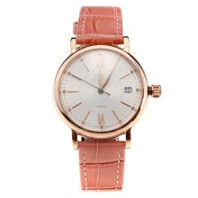 IWC Portofino Rose Gold Case White Dial with Pink Leather Strap-Lady Size