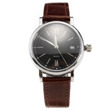 IWC Portofino Black Dial with Brown Leather Strap-Lady Size