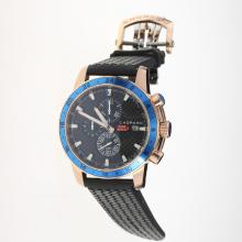 Chopard Miglia Working Chronograph Rose Gold Case with Black Dial-Rubber Strap-1