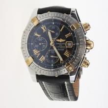 Breitling Chronomat Evolution Chronograph Swiss Valjoux 7750 Movement Two Tone Case Roman Markers with Black Dial-Leather Strap