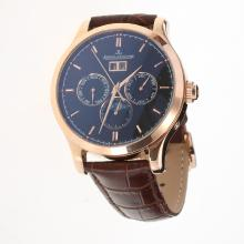 Jaeger-Lecoultre Master Control Automatic Rose Gold Case with Black Dial-Leather Strap