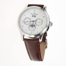 Jaeger-Lecoultre Master Control Automatic with White Dial-Leather Strap