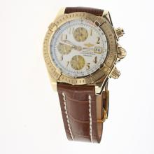 Breitling Chronomat Evolution Chronograph Swiss Valjoux 7750 Movement Gold Case Number Markers with White Dial-Leather Strap