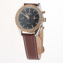 Omega Speedmaster Chronograph Swiss Valjoux 7750 Movement Two Tone Case with Black Dial(Extra Black Leather Strap is Included))