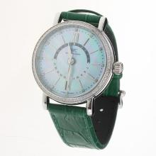 IWC Portofino GMT Automatic Diamond Bezel with Blue MOP Dial-Green Leather Strap