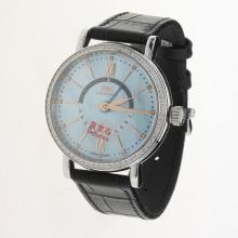IWC Portofino GMT Automatic Diamond Bezel with Blue MOP Dial-Black Leather Strap-1